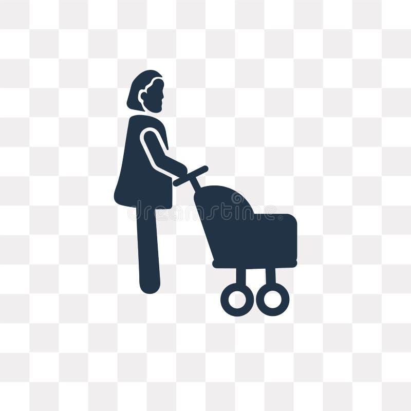Mulher com o ícone do vetor do carrinho de criança de bebê isolado no CCB transparente ilustração royalty free