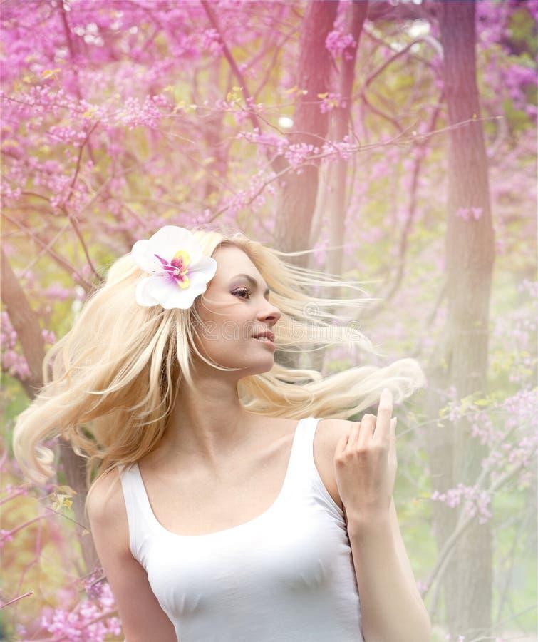 Mulher com o cabelo longo louro que acena no vento. imagem de stock royalty free