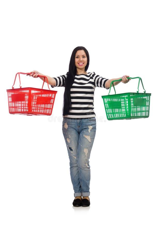 Mulher com o carrinho de compras isolado no branco imagens de stock