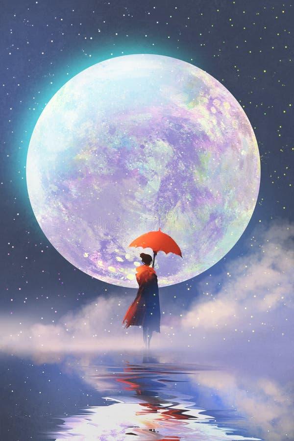 Mulher com o guarda-chuva vermelho que está na água contra o fundo da Lua cheia ilustração stock