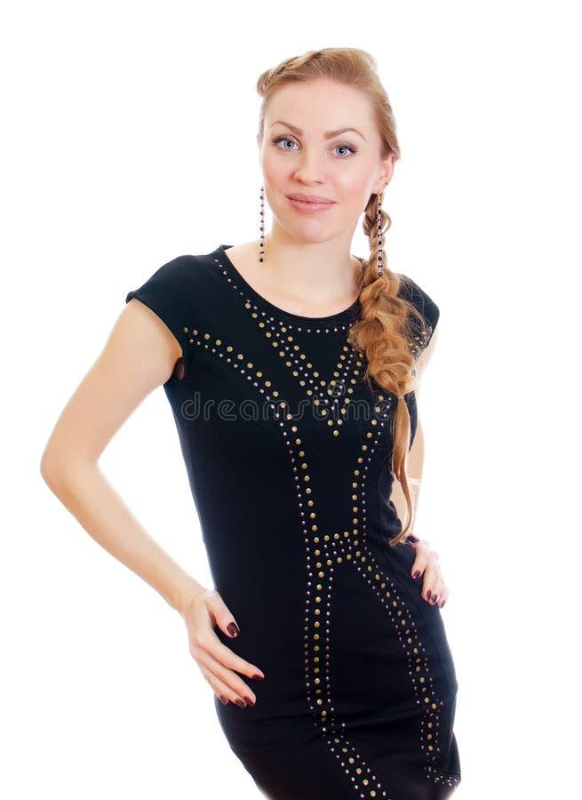 Mulher com o pigtail no vestido preto fotos de stock