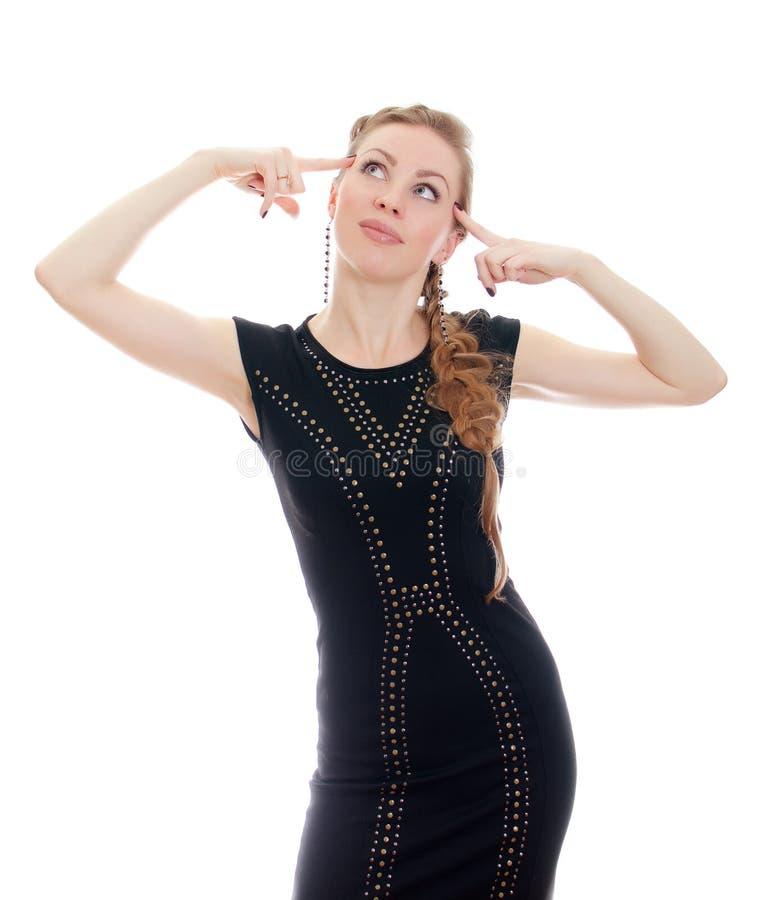 Mulher com o pigtail no vestido preto imagens de stock royalty free