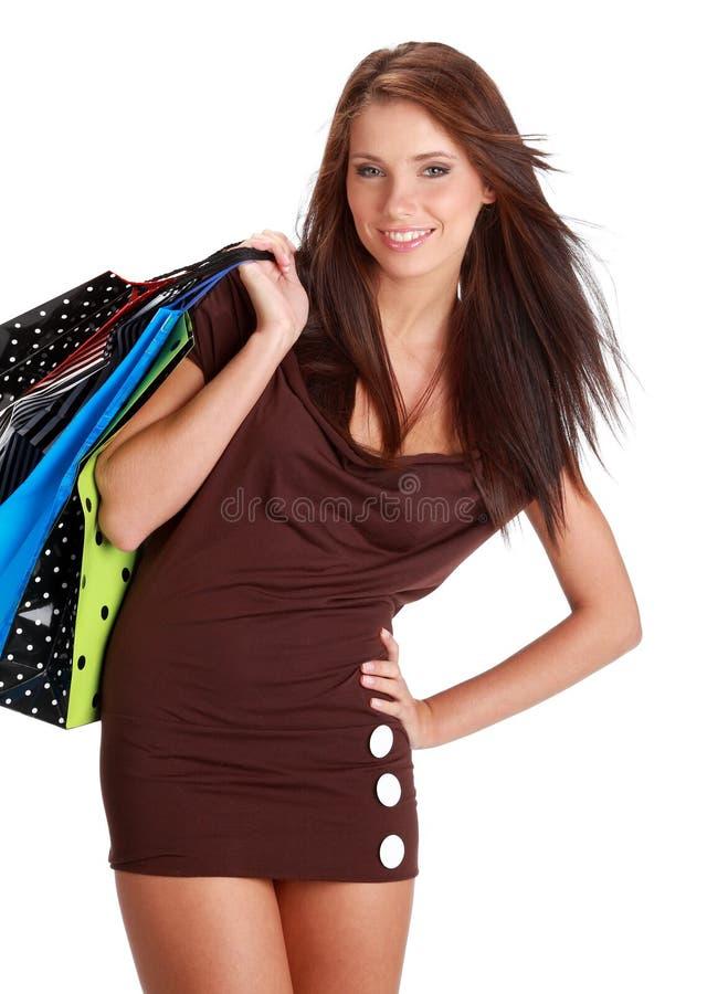 Mulher com o saco de compra colorido fotografia de stock royalty free