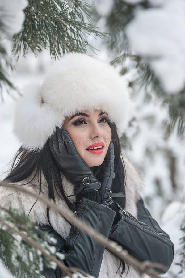 Mulher com o tampão e o waistcoat brancos da pele que aprecia o cenário do inverno perto de uma cerca do ferro Levantamento moren fotografia de stock royalty free