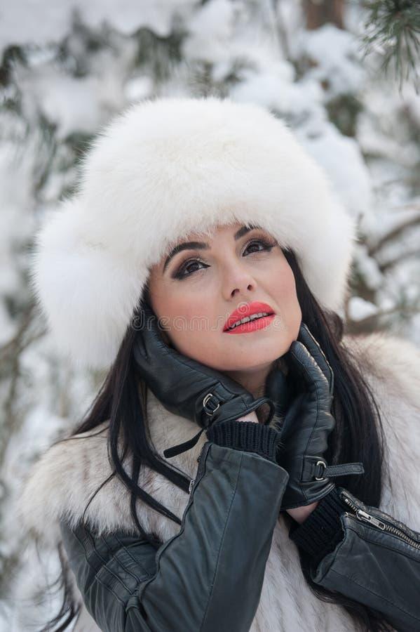 Mulher com o tampão e o waistcoat brancos da pele que aprecia o cenário do inverno perto de uma cerca do ferro Levantamento moren imagem de stock royalty free