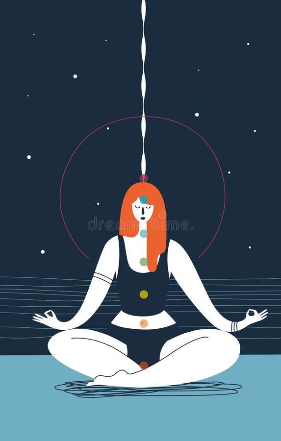 A mulher com olhos fechados e sete chakras de cores diferentes senta-se na posição da ioga e medita-se contra o fundo azul Concei ilustração do vetor