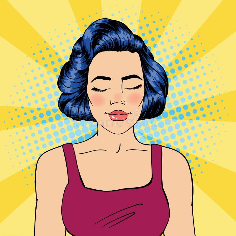 Mulher com olhos fechados Meditando a menina Mulher Relaxed Pop art ilustração stock
