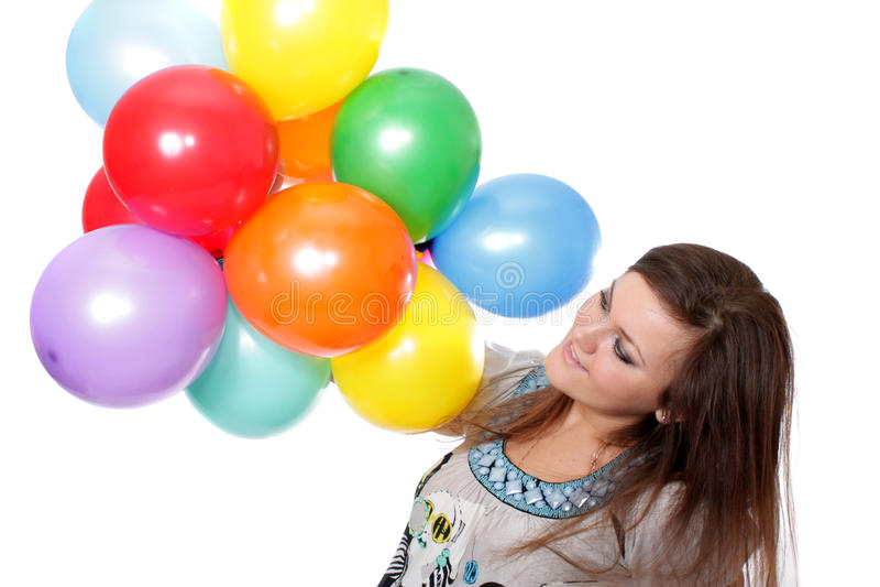 Download Mulher Com Os Balões, Isolados. Foto de Stock - Imagem de esfera, infância: 12800004