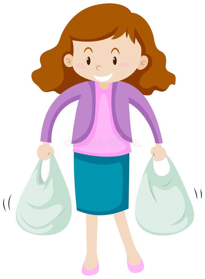 mulher com os dois sacos de compra ilustração do vetor