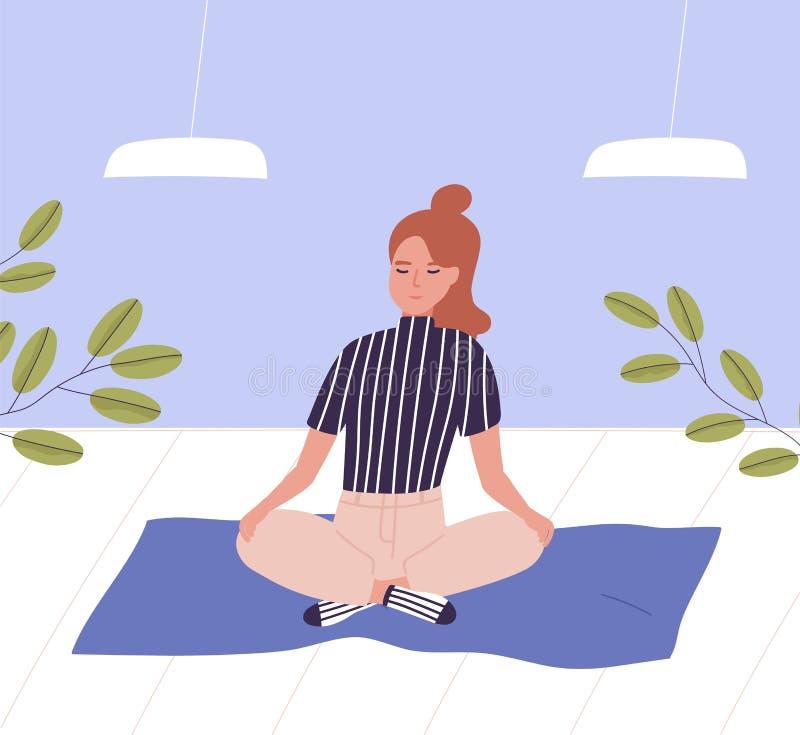 Mulher com os olhos fechados que sentam equipado com pernas transversal e meditar Meditação do negócio, abrandamento no escritóri ilustração do vetor