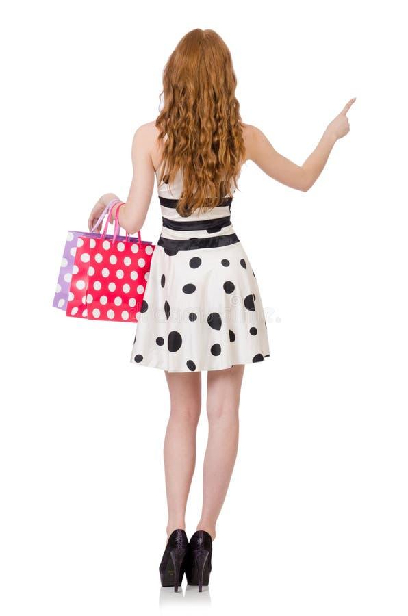 Mulher com os sacos de compras isolados foto de stock royalty free