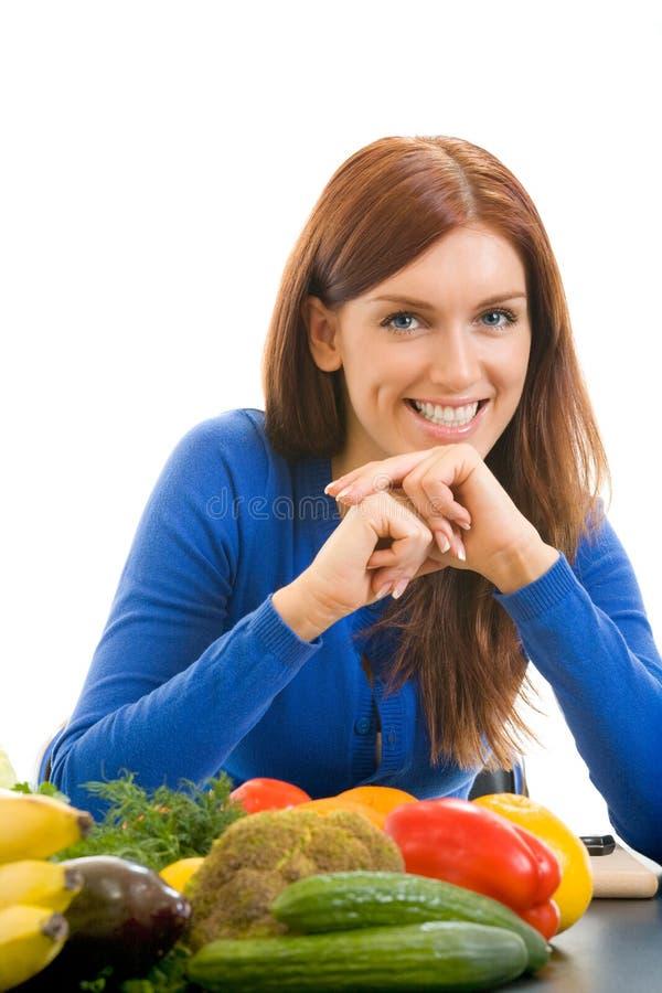 Mulher com os vegetais, isolados fotos de stock royalty free