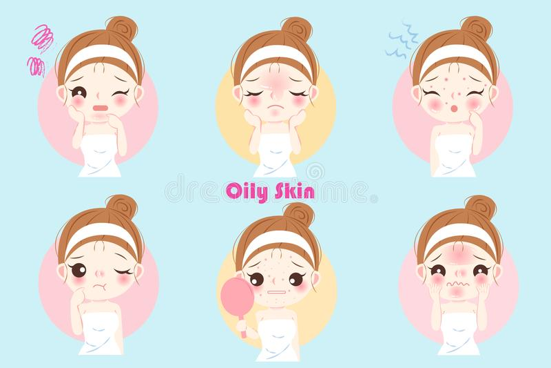Mulher com pele oleosa ilustração stock