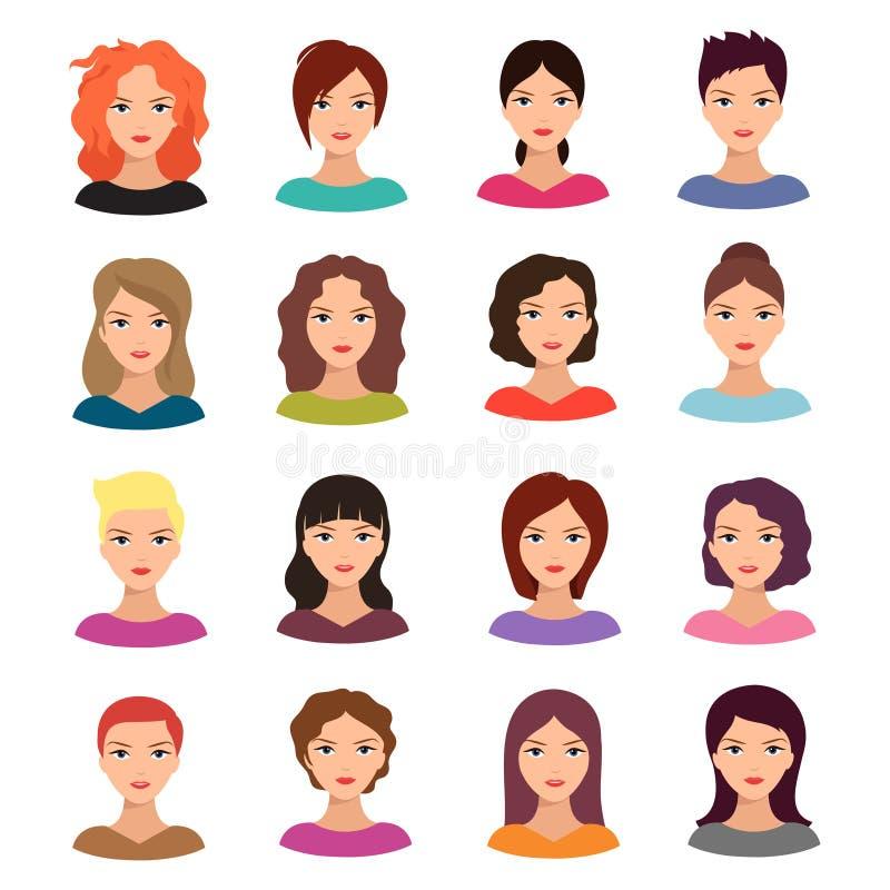 Mulher com penteado diferente Grupo fêmea novo bonito do avatar do vetor das caras ilustração stock