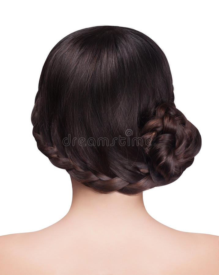 Mulher com penteado moreno do cabelo e da trança fotografia de stock