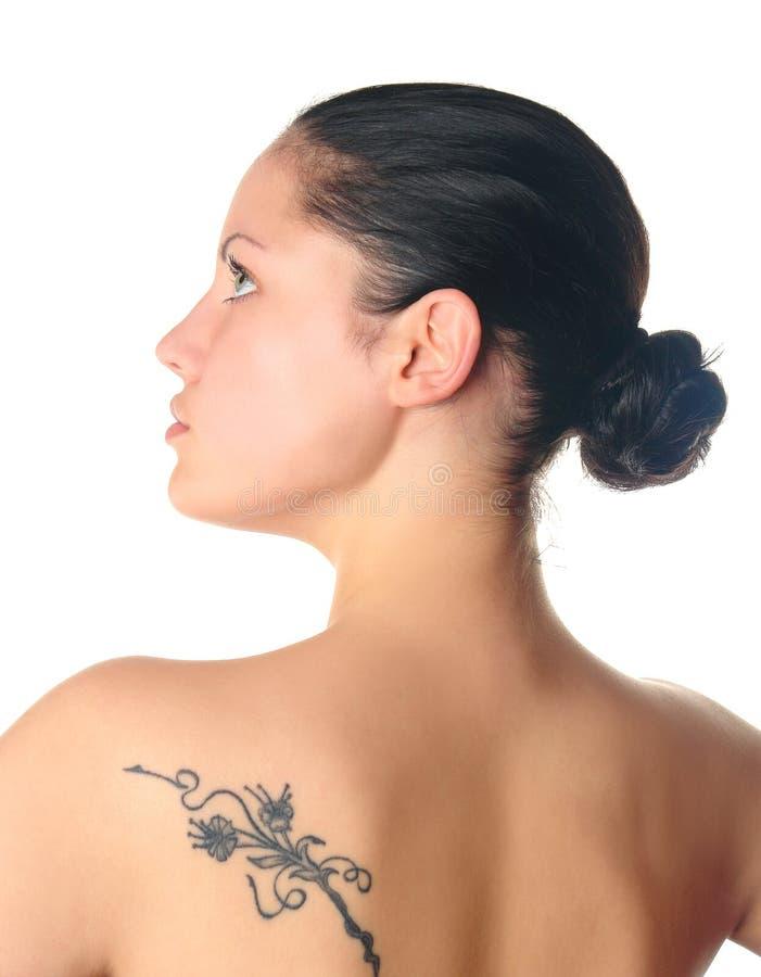 Mulher com perfil do tatuagem imagens de stock royalty free