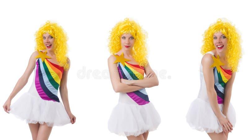 A mulher com a peruca isolada no branco imagem de stock