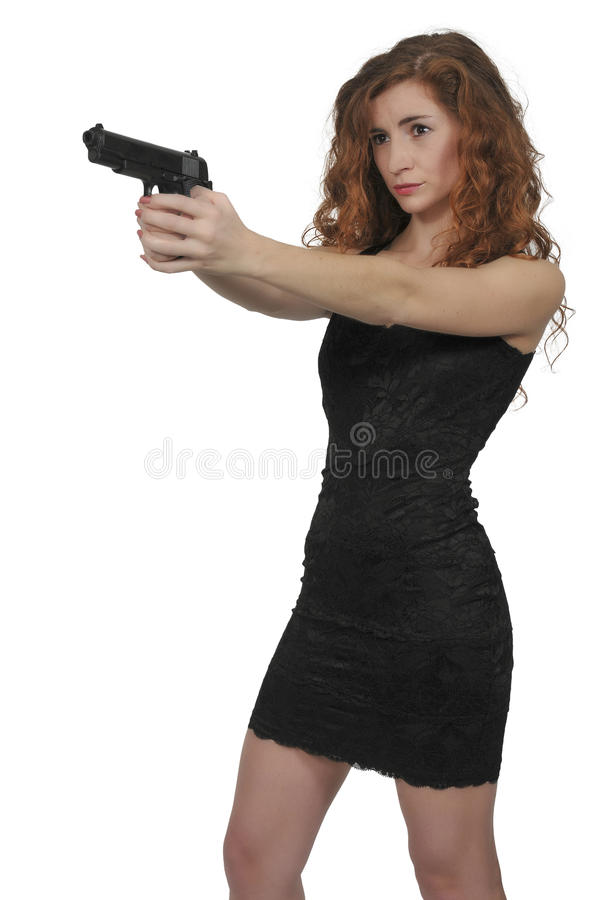 Mulher com pistola imagens de stock