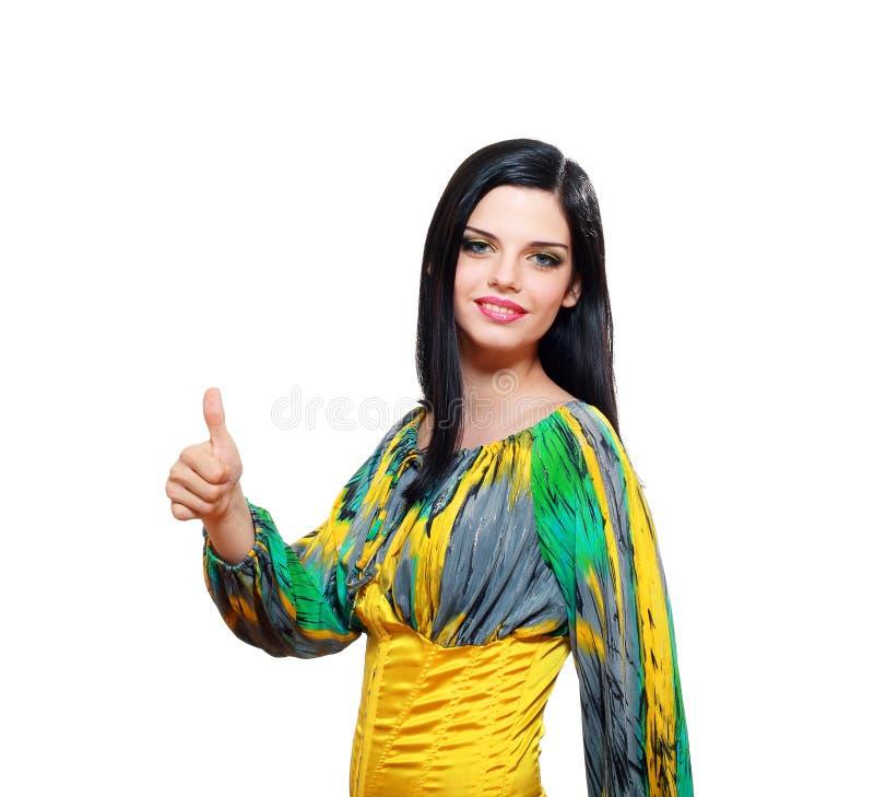 Mulher com polegar acima fotos de stock