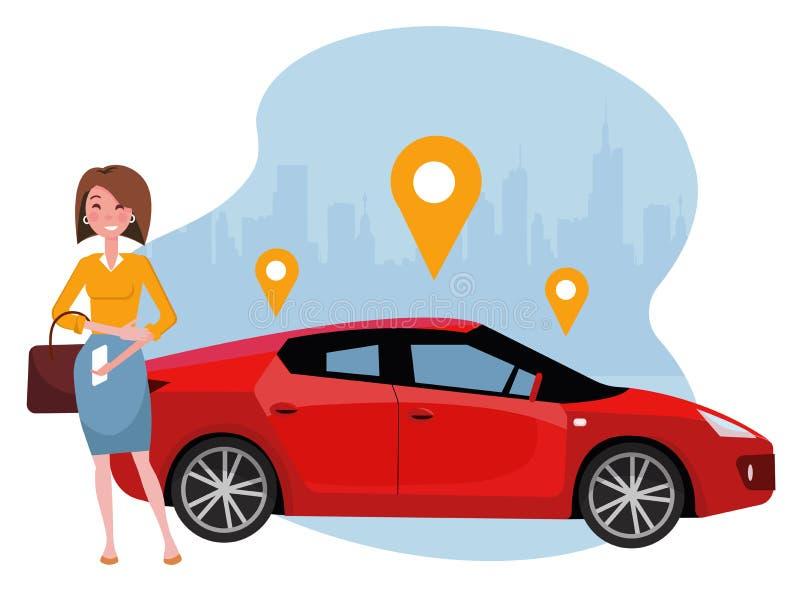 Mulher com posição do smartphone perto do carro Alugue um carro usando o app m?vel Conceito em linha do carsharing Carro vermelho ilustração do vetor