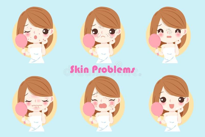 Mulher com problema de pele ilustração do vetor