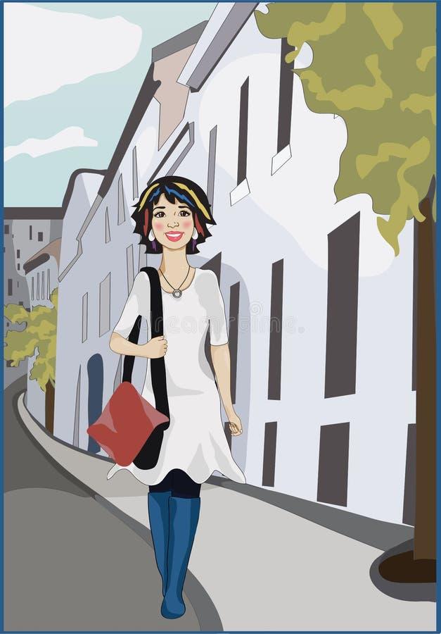 A mulher com punk coloriu o cabelo que anda na rua da cidade fotografia de stock royalty free