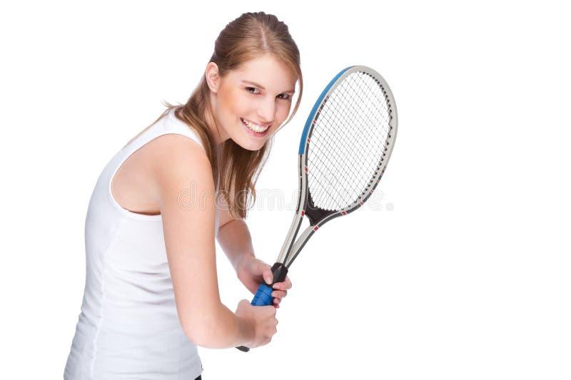 Mulher com raquete de tênis fotos de stock