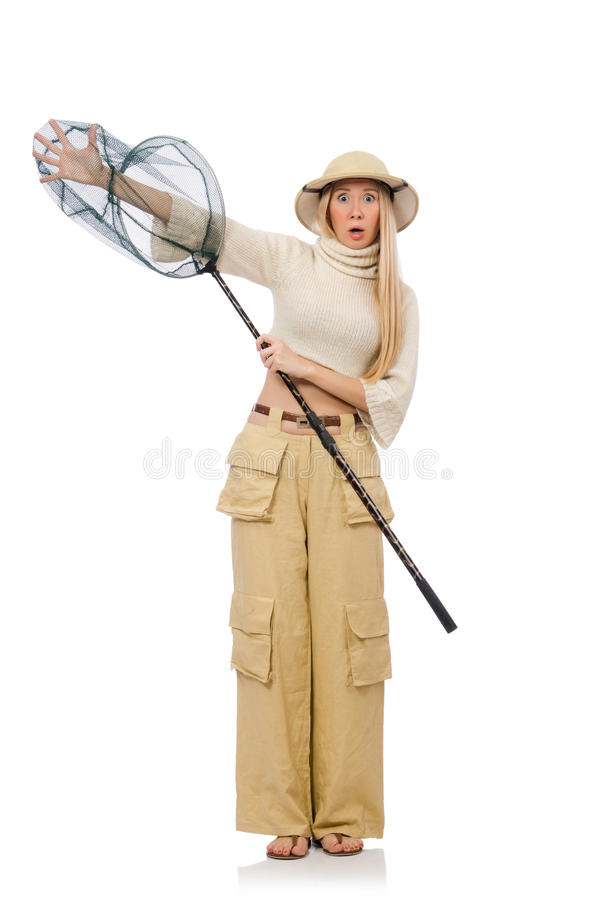 Mulher com a rede de travamento isolada no branco fotos de stock royalty free