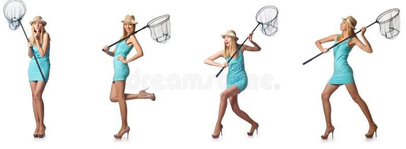 A mulher com a rede de travamento isolada no branco imagens de stock royalty free