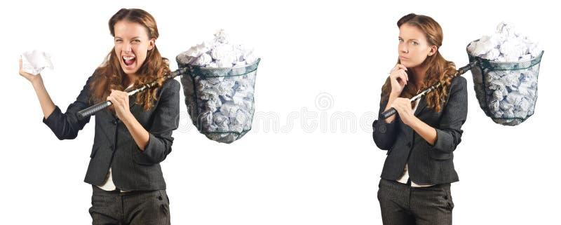A mulher com rede e papéis de travamento imagem de stock royalty free