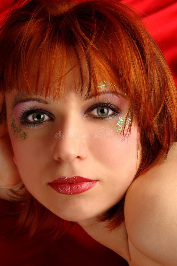 Mulher com redhead fotografia de stock