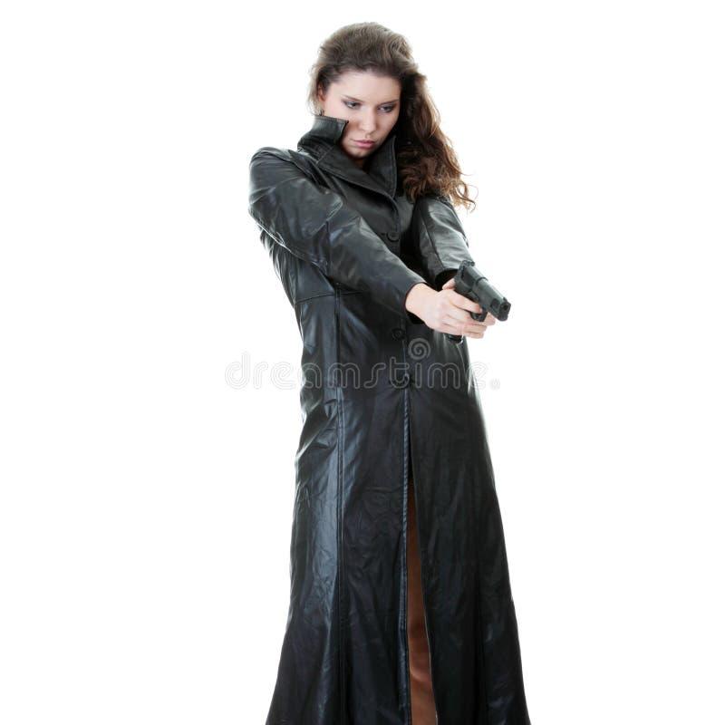 Mulher com revólver foto de stock royalty free