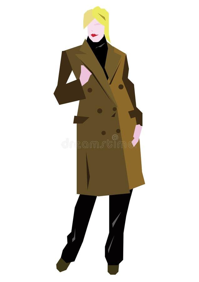 Mulher com revestimento ilustração do vetor