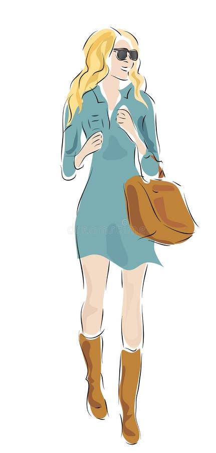 Mulher com roupa e saco da forma ilustração do vetor