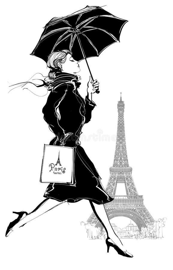 Mulher com saco de compra ilustração stock