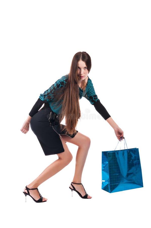 Mulher com saco de compras fotos de stock royalty free