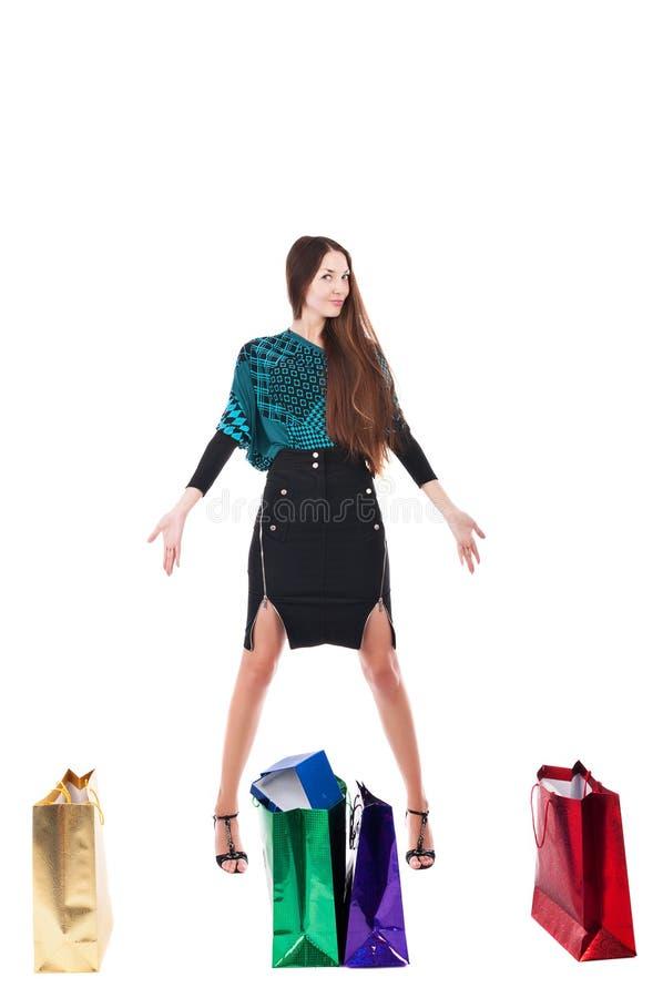 Mulher com saco de compras imagens de stock royalty free