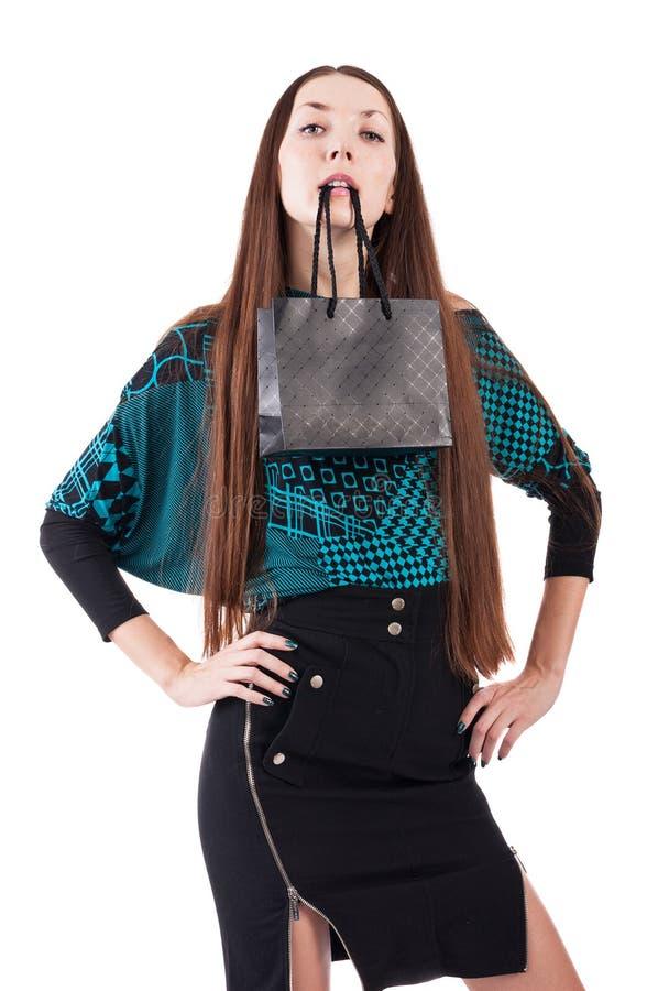 Mulher com saco de compras imagens de stock