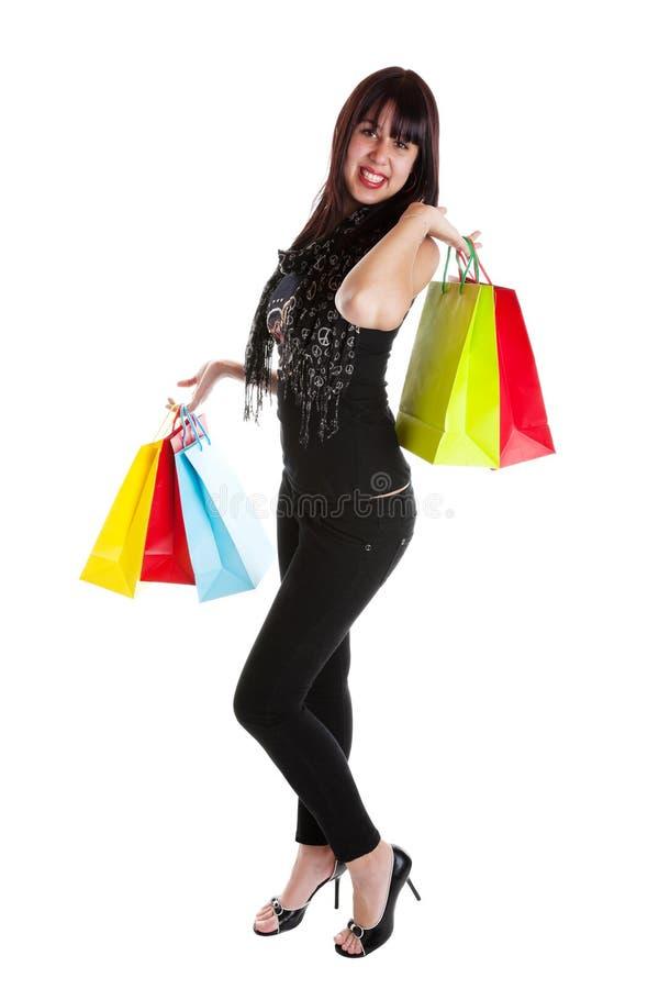 Mulher com sacos de compra imagens de stock