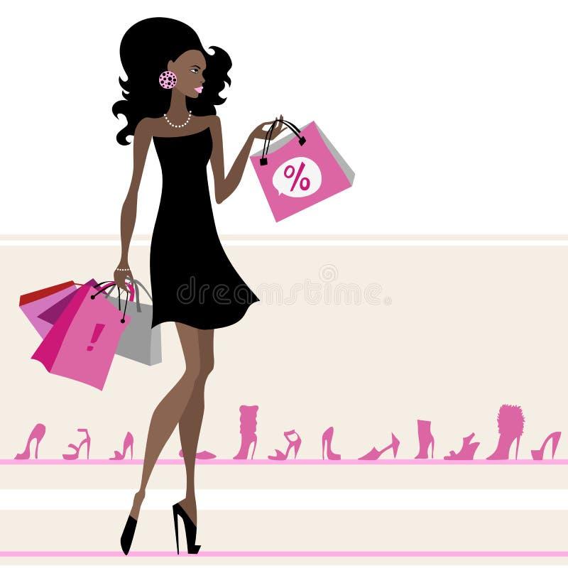 Mulher com sacos de compra. ilustração do vetor