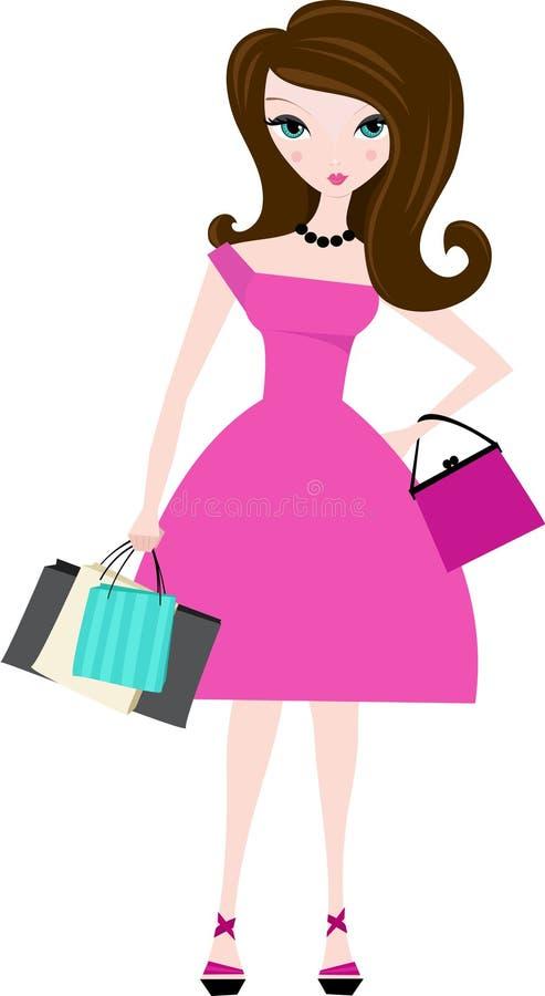 Mulher com sacos de compra ilustração royalty free