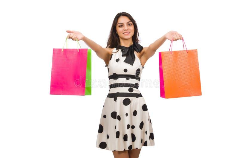 Mulher com sacos de compra foto de stock royalty free