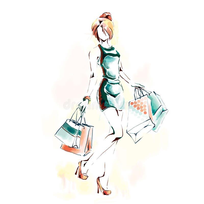 Mulher com sacos de compras, ilustrações da aquarela ilustração royalty free