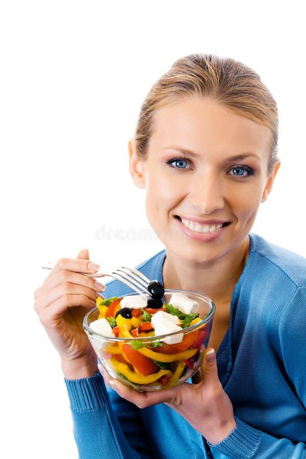 Mulher com salada imagem de stock royalty free