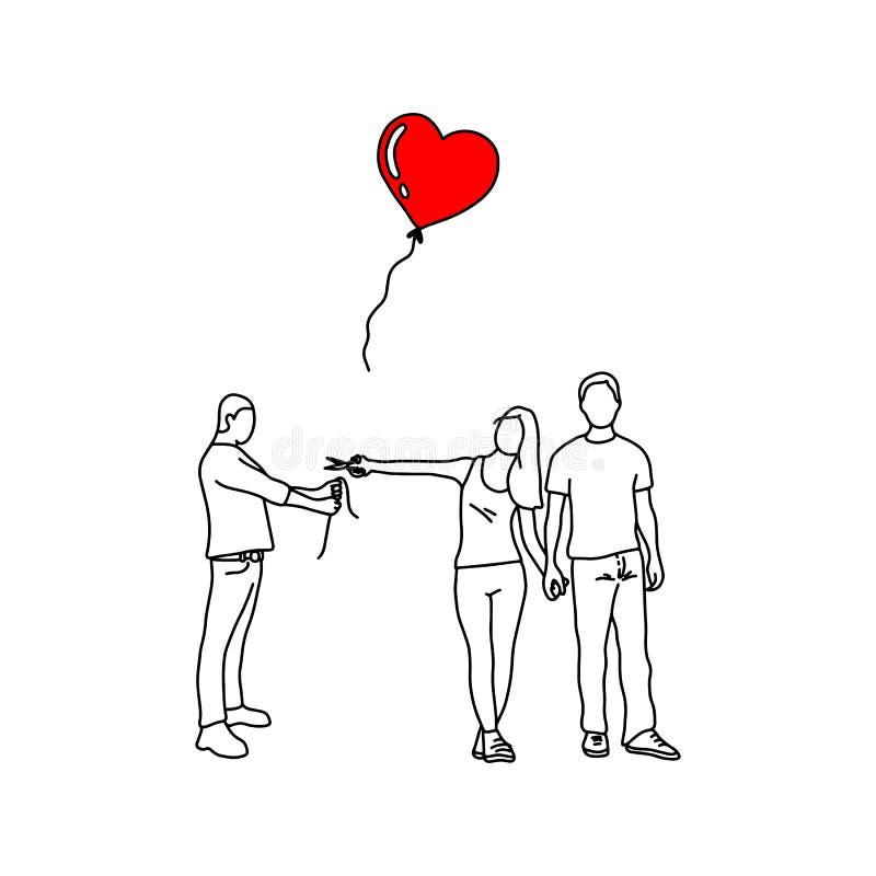 Mulher com seu amante novo que corta o balão vermelho do coração de um vect do homem ilustração royalty free
