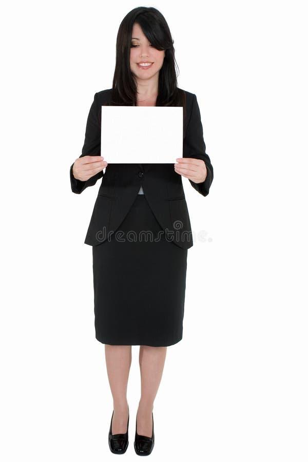 Mulher com sinal em branco fotografia de stock