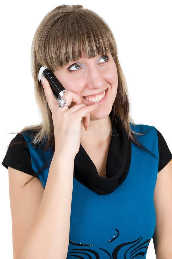 Mulher com telefone de pilha imagens de stock royalty free