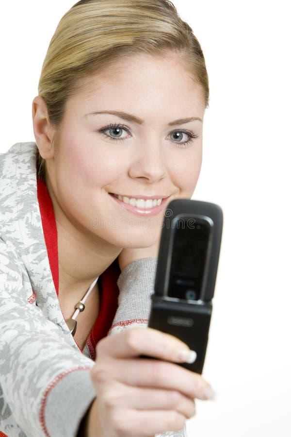 Mulher com telefone móvel foto de stock royalty free