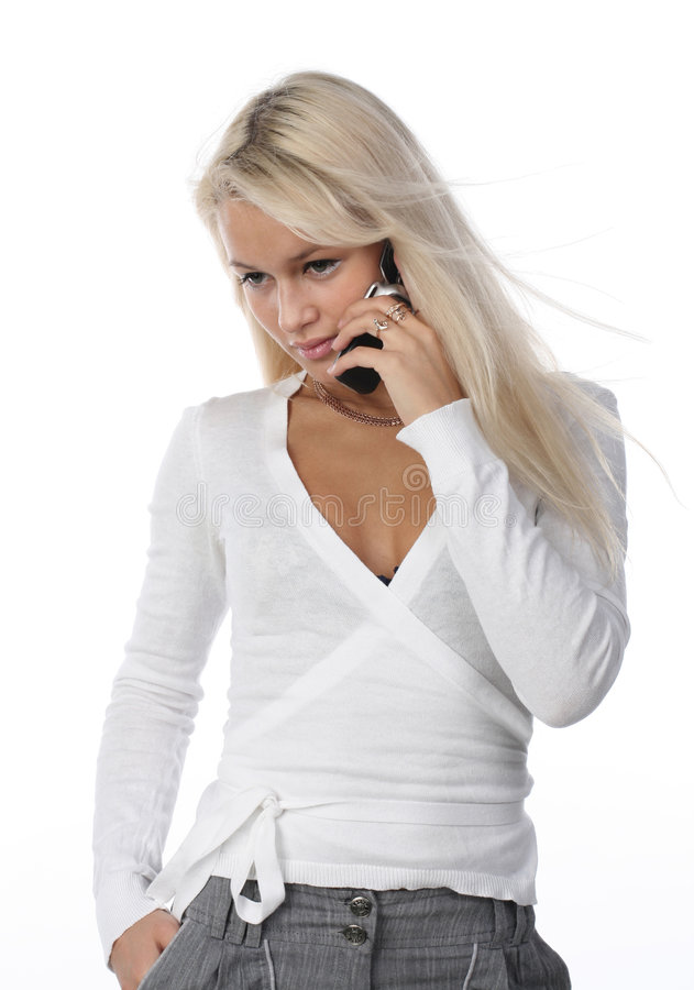 Mulher com telemóvel foto de stock