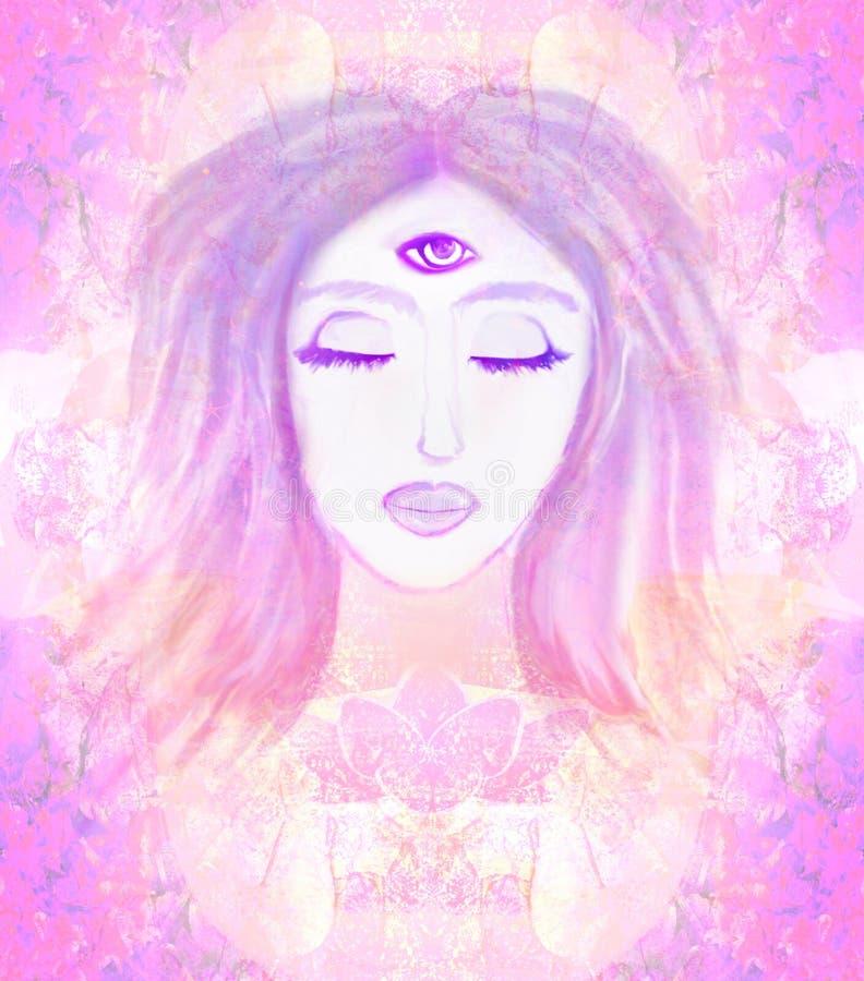 Mulher com terceiro olho, sentidos sobrenaturais psíquicos ilustração stock